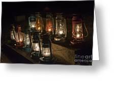 Colorful Lanterns At Night Greeting Card