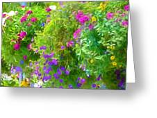 Colorful Large Hanging Flower Plants 3 Greeting Card
