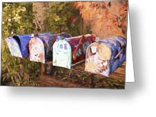 Colorful Mailboxes Santa Fe Painterly Effect Greeting Card
