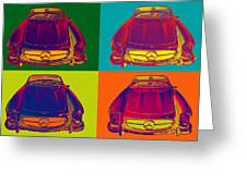 Colorful Mercedes Benz 300 Sl Convertible Popart Greeting Card