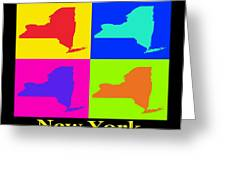 Colorful New York State Pop Art Map Greeting Card