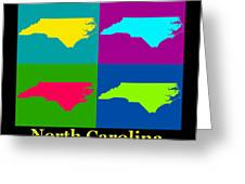 Colorful North Carolina Pop Art Map Greeting Card