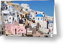 Colorful  Oia Greeting Card
