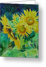 Colorful Original Sunflowers Flower Garden Art Artist K. Joann Russell Greeting Card