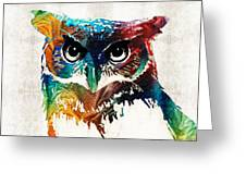 Colorful Owl Art - Wise Guy - By Sharon Cummings Greeting Card