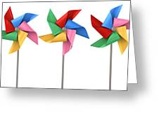 Colorful Pinwheels Isolated Greeting Card