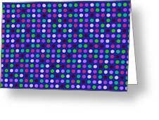 Colorful Polka Dots On Blue Fabric Background Greeting Card