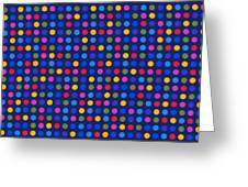 Colorful Polka Dots On Dark Blue Fabric Background Greeting Card