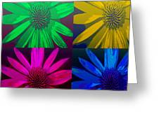 Colorful Pop Art Flowers Greeting Card