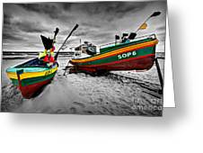 Colorful Retro Ship Boats On The Beach Greeting Card