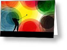 Colorful Retro Silhouette Golfer Greeting Card