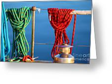 Colorful Rope Detail On Yacht Greeting Card