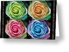 Colorful Rose Spirals With Love Greeting Card