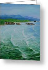 Colorful Seascape Oregon Cannon Beach Ecola Landscape Art Painting Greeting Card