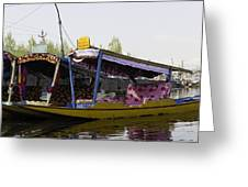 Colorful Shikaras Tied Up Next To The Dal Lake In Srinagar Greeting Card