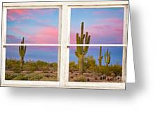 Colorful Southwest Desert Window Art View Greeting Card