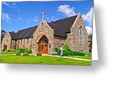 Colorful Stone Catholic Church In North Bay Of Lake Nipissing-on Greeting Card