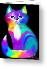 Colorful Striped Rainbow Cat Greeting Card