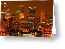 Colorful Summer Night In Pittsburgh Greeting Card