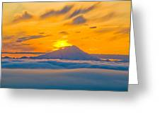 Colorful Sunset Behind Mt. Redoubt And Greeting Card