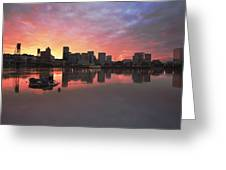 Colorful Sunset Over Portland Downtown Waterfront Greeting Card