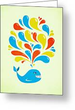 Colorful Swirls Happy Cartoon Whale Greeting Card