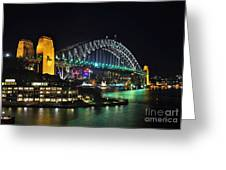 Colorful Sydney Harbour Bridge By Night 3 Greeting Card