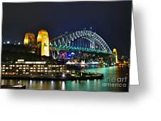 Colorful Sydney Harbour Bridge By Night Greeting Card