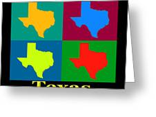 Colorful Texas Pop Art Map Greeting Card