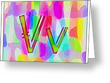 Colorful Texturized Alphabet Vv Greeting Card