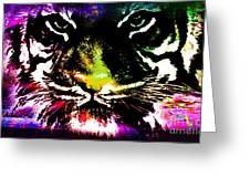 Colorful Tiger Abstract Grunge Face Greeting Card