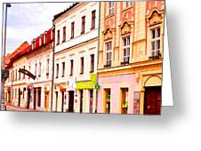 Colorful Town Homes Greeting Card