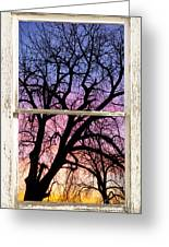 Colorful Tree White Farm House Window Portrait View Greeting Card