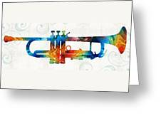 Colorful Trumpet Art Color Fusion By Sharon Cummings Greeting Card