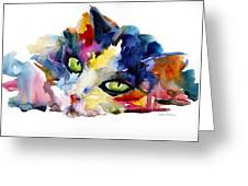 Colorful Tubby Cat Painting Greeting Card