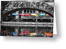 Colorful Umbrellas Reflected In Riverwalk Under Foot Bridge San Antonio Texas Color Splash Digital Greeting Card