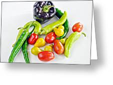 Colorful Veggies On White Greeting Card