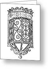 Colorful Vibrant Red Green Gothic Sconce Light Black And White Stamp Digital Art Greeting Card