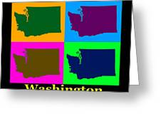 Colorful Washington State Pop Art Map Greeting Card