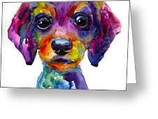 Colorful Whimsical Daschund Dog Puppy Art Greeting Card