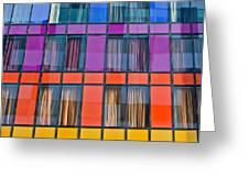 Colorful Windows On Modern Apartment Block Greeting Card