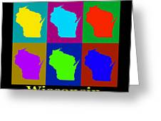 Colorful Wisconsin Pop Art Map Greeting Card
