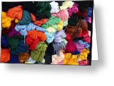 Colorful Yarn Otavalo Market Ecuador Greeting Card