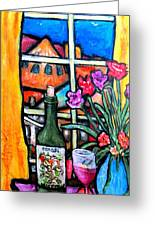 Colosi Wine With Flowers Greeting Card by Chaline Ouellet