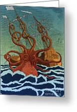 Colossal Octopus Attacking Ship 1801 Greeting Card