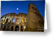 Colosseum And The Moon Greeting Card