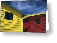 Coloured Beach Huts Greeting Card
