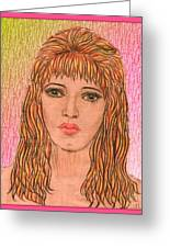 Coloured Pencil Self Portrait Greeting Card by Joan-Violet Stretch