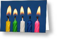 Colourful Candles Lit Greeting Card