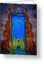 Colourful Doorway Art On Adobe House Greeting Card
